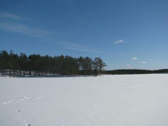 Keväthankia Sainijärvellä, kuvannut Matti Leiviskä