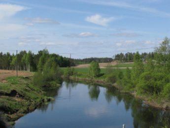 Siikajoki Joensuunsillalta, kuvannut Matti Leiviskä